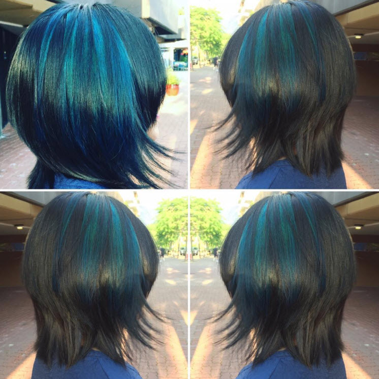 blue and black hair