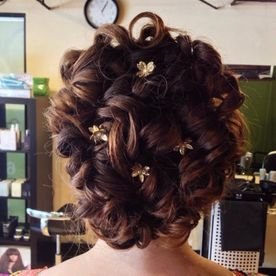 updo hairstyle with flowers