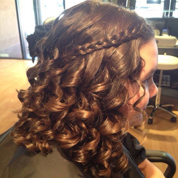 curly hair with braid