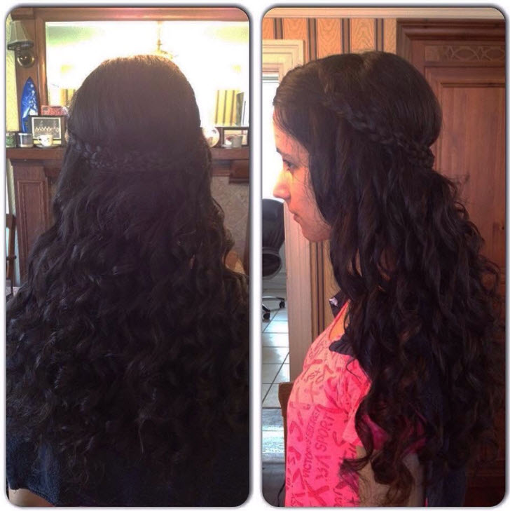 long dark curly hair with braid